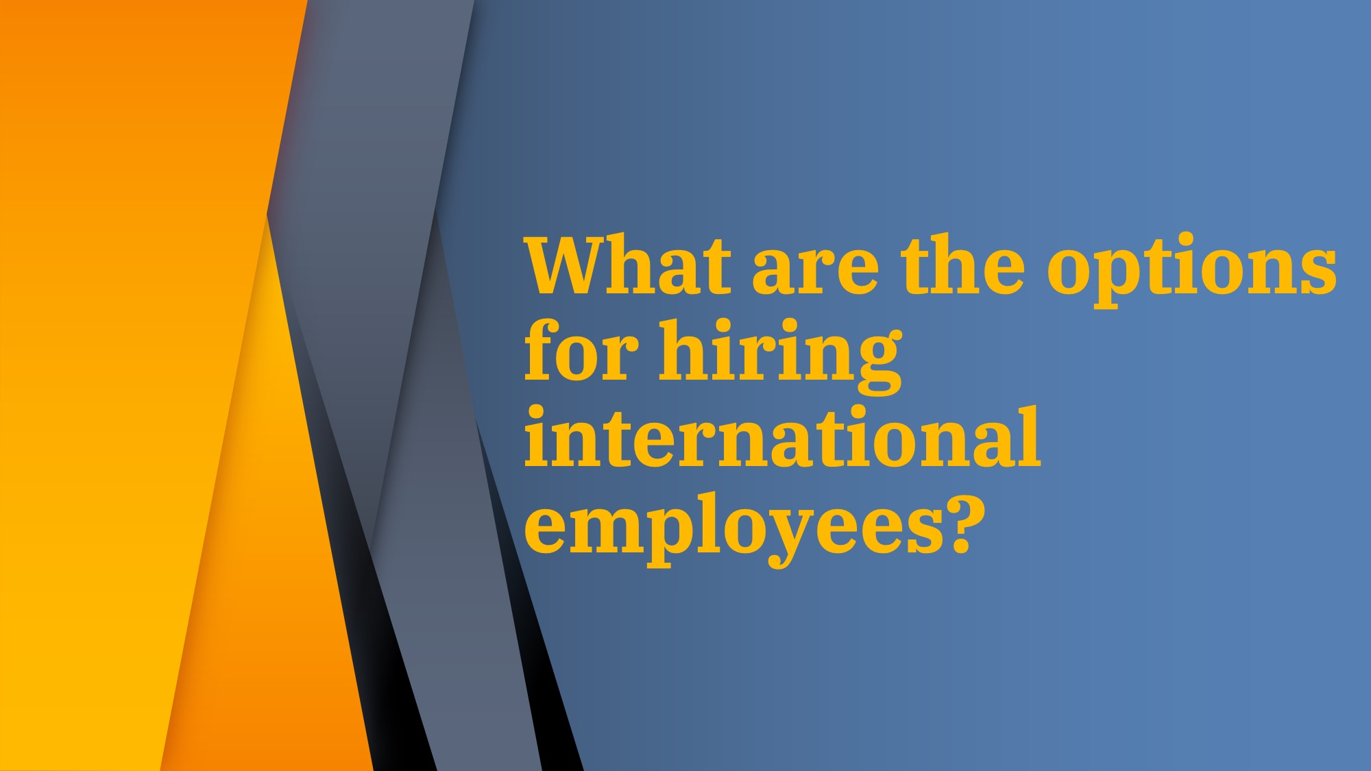 What are the options for hiring international employees?